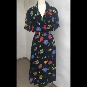 Vintage floral 80s dress pad shoulders Sz 4
